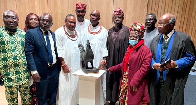 VIDEO: Benin Bronze 'Okukor' Returned To Nigeria After Over 100 Years