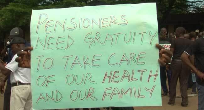 Man Slumps As Edo Pensioners Stage Protest