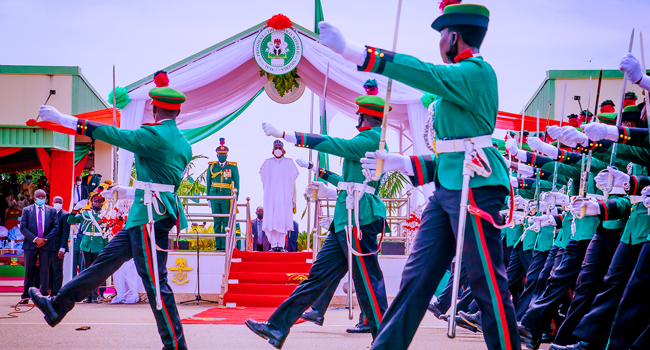 President Muhammadu Buhari attended the Passing Out Parade for Cadets of 68 Regular Course (Army, Navy and Airforce) in Kaduna on October 9, 2021. Bayo Omoboriowo/State House