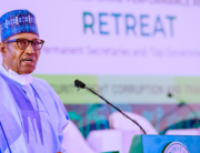 President Muhammadu Buhari delivers a speech during the Two-Day Mid-Term Ministerial Performance Review Retreat in the State House, Abuja on October 11, 2021. Bayo Omoboriowo/State House