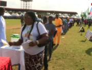 APC delegates receive ballot papers during the party's state congress in Abakaliki, Ebonyi State, on October 16, 2021.
