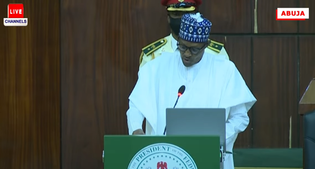 President Muhammadu Buhari makes a budget presentation speech at the National Assembly on October 7, 2021.
