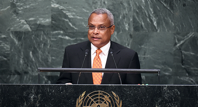In this file photo taken on October 1, 2015 Cabo Verde's Prime Minister Jose Maria Pereira Neves addresses the 70th Session of the United Nations General Assembly at the UN in New York. Jewel SAMAD / AFP