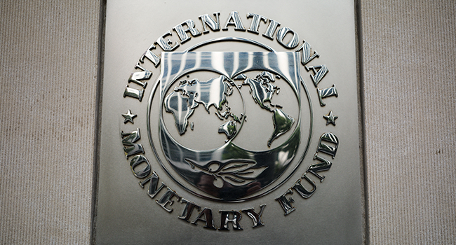 In this file photo taken on October 07, 2021 the seal of the International Monetary Fund is seen outside of its headquarters in Washington, DC. MANDEL NGAN / AFP